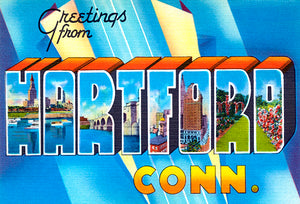 Greetings From Hartford, Connecticut - 1930's - Vintage Postcard Magnet