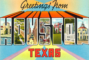 Greetings From Houston, Texas - 1930's - Vintage Postcard Magnet