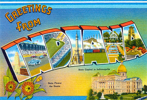 Greetings From Indiana - Indianapolis - 1930's - Vintage Postcard Magnet