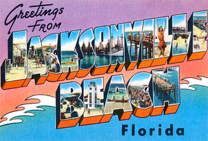 Greetings From Jacksonville Beach, Florida - 1930's - Vintage Postcard Magnet