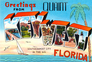 Greetings From Key West, Florida - 1930's - Vintage Postcard Magnet