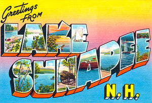 Greetings From Lake Sunapee, New Hampshire - 1930's - Vintage Postcard Magnet