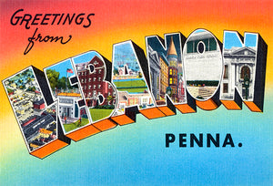 Greetings From Lebanon, Pennsylvania - 1930's - Vintage Postcard Magnet
