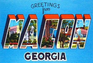 Greetings From Macon, Georgia - 1930's - Vintage Postcard Magnet