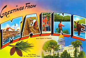Greetings From Maine - Augusta - 1930's - Vintage Postcard Magnet