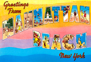 Greetings From Manhattan Beach, New York - 1930's - Vintage Postcard Magnet