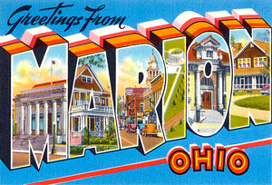 Greetings From Marion, Ohio - 1930's - Vintage Postcard Magnet