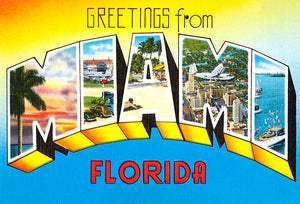 Greetings From Miami, Florida - 1930's - Vintage Postcard Magnet