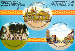 Greetings From Mitchell, South Dakota - 1930's - Vintage Postcard Magnet