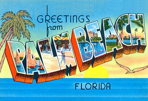 Greetings From Palm Beach, Florida - 1930's - Vintage Postcard Poster