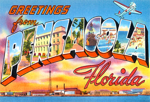 Greetings From Pensacola, Florida - 1930's - Vintage Postcard Poster