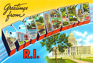 Greetings From Providence, Rhode Island - 1930's - Vintage Postcard Poster