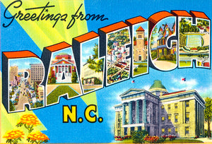 Greetings From Raleigh, North Carolina - 1930's - Vintage Postcard Poster