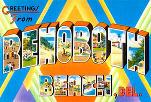 Greetings From Rehoboth Beach, Delaware - 1930's - Vintage Postcard Poster