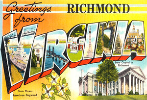 Greetings From Richmond, Virginia -  1930's - Vintage Postcard Poster