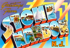 Greetings From Stone Harbor, New Jersey -  1930's - Vintage Postcard Poster