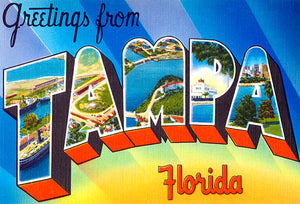 Greetings From Tampa, Florida -  1930's - Vintage Postcard Poster