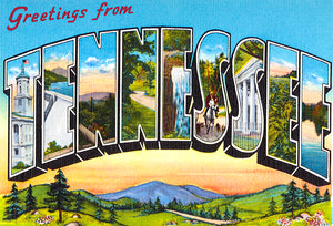 Greetings From Tennessee - 1930's - Vintage Postcard Poster