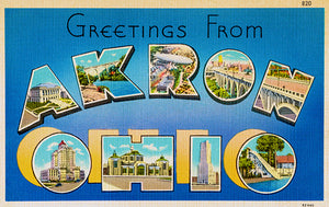 Greetings From Akron, Ohio - 1930's - Vintage Postcard Poster