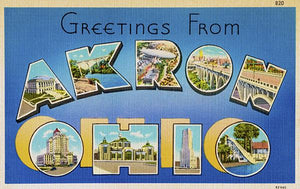Greetings From Akron, Ohio - 1930's - Vintage Postcard Magnet
