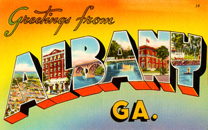 Greetings From Albany, Georgia - 1930's - Vintage Postcard Poster
