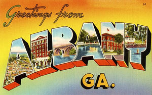 Greetings From Albany, Georgia - 1930's - Vintage Postcard Magnet