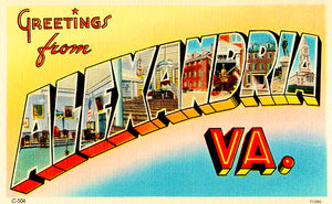 Greetings From Alexandria, Virginia - 1930's - Vintage Postcard Poster
