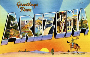 Greetings From Arizona - 1930's - Vintage Postcard Magnet