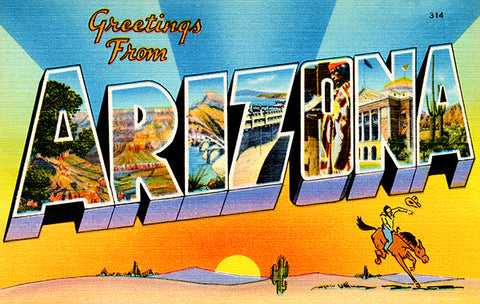 Greetings From Arizona - 1930's - Vintage Postcard Poster