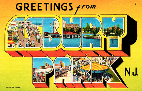 Greetings From Asbury Park, New Jersey - 1930's - Vintage Postcard Poster