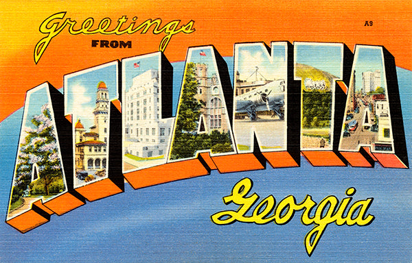 Greetings From Atlanta, Georgia - 1930's - Vintage Postcard Poster