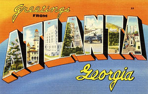 Greetings From Atlanta, Georgia - 1930's - Vintage Postcard Magnet