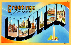 Greetings From Boston, Massachusetts - 1930's - Vintage Postcard Poster