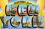 Greetings From New York - 1930's - Vintage Postcard Poster