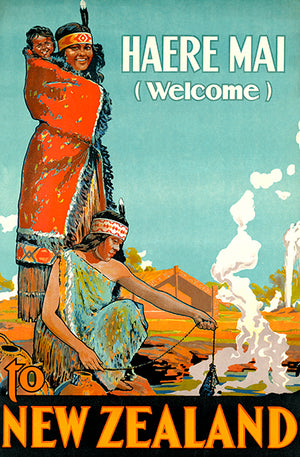 Haere Mai (Welcome) To New Zealand - 1930's - Travel Poster