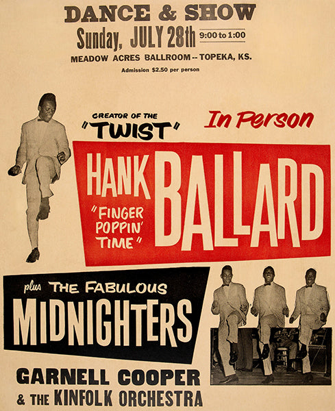 Hank Ballard - The Midnighters - 1963 - Topeka KS - Concert Poster