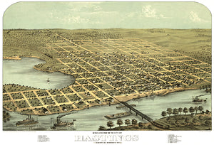 Hastings, Minnesota - 1867 - Aerial Bird's Eye View Map Poster
