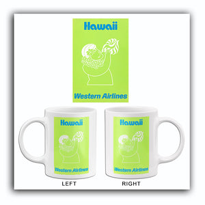 Hawaii - Western Airlines - 1970's - Travel Poster Mug