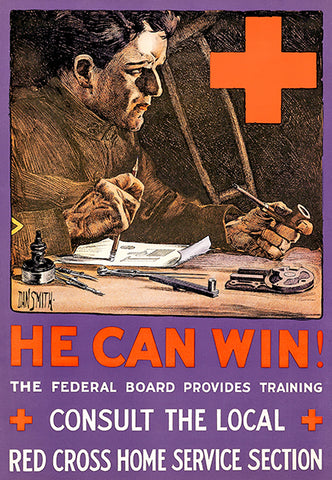 He Can Win! - Red Cross - 1919 - World War I - Propaganda Poster