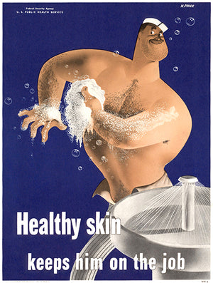 Healthy Skin - Keeps Him On The Job - 1942 - WWII - Health Magnet