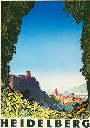 Heidelberg Germany - 1936 - Travel Poster Magnet