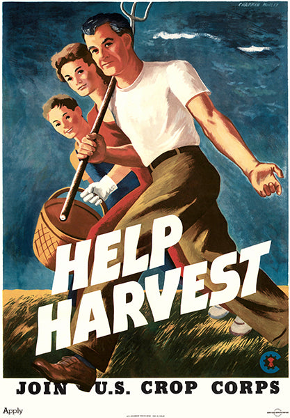 Help Harvest - Join U.S. Crop Corps - 1943 - World War II - Propaganda Poster