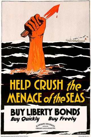 Help Crush The Menace - Liberty Bonds - 1918 - World War I - Propaganda Poster
