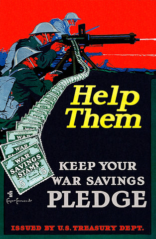 Help Them - War Savings Stamp - 1918 - World War I - Propaganda Poster