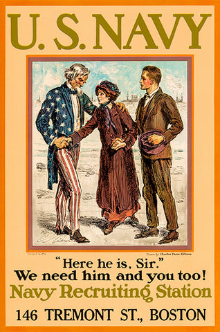 Here He Is Sir - We Need Him - US Navy - 1920's - Recruitment Poster