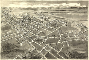Hickory, North Carolina - 1907 - Aerial Bird's Eye View Map Poster