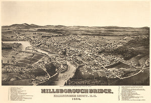 Hillsboro, New Hampshire - 1884 -  Aerial Birds Eye View Map Poster