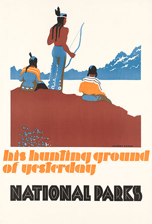 His Hunting Ground Of Yesterday - National Parks - 1930's - Travel Poster Magnet