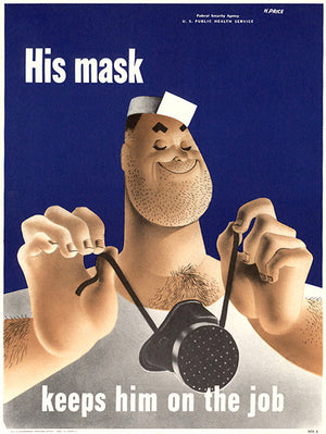 His Mask - Keeps Him On The Job - 1942 - WWII - Health Magnet