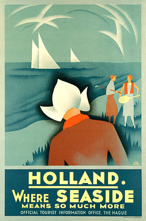 Holland - Where Seaside Means So Much More - 1936 - Travel Poster Magnet